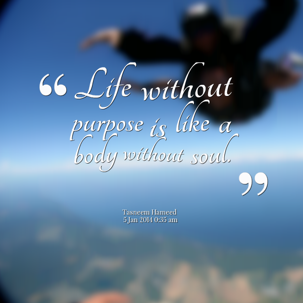 Life without purpose is like a body without soul.